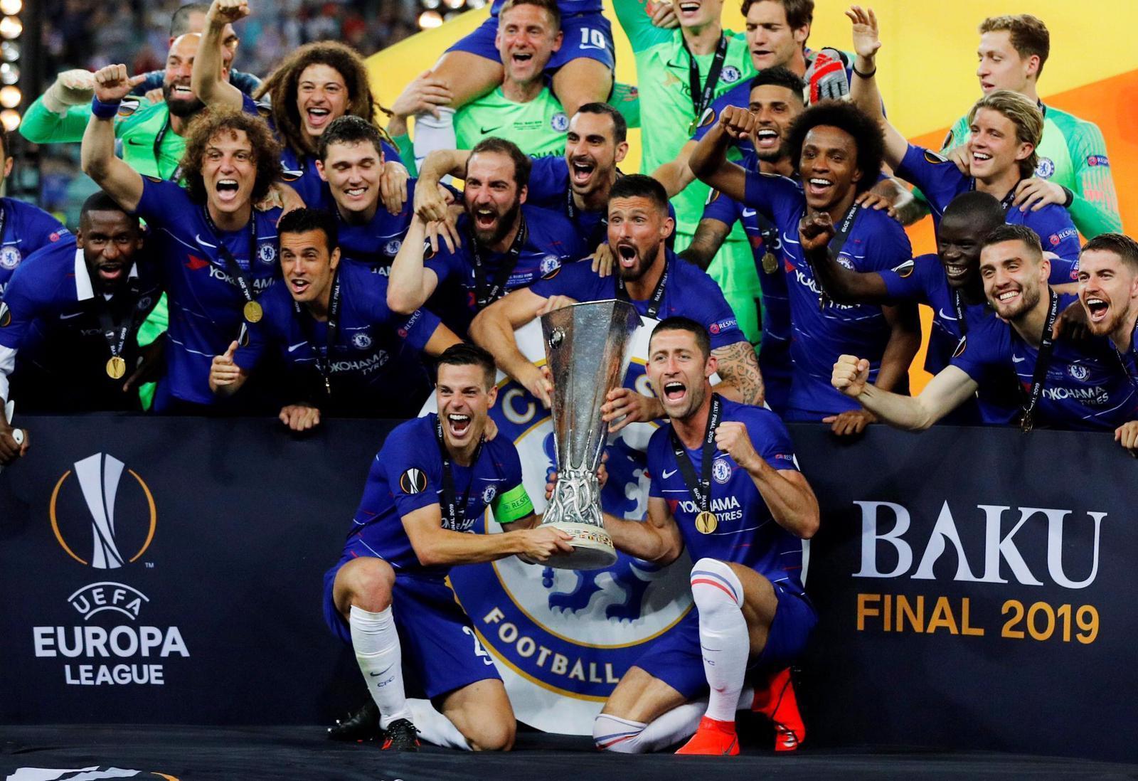 Equipe do Chelsea em 2018 comemorando o título - História da Liga Europa