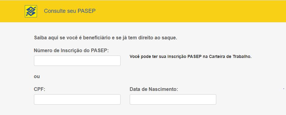 Imagem mostra tela do banco do Brasil para Abono salarial