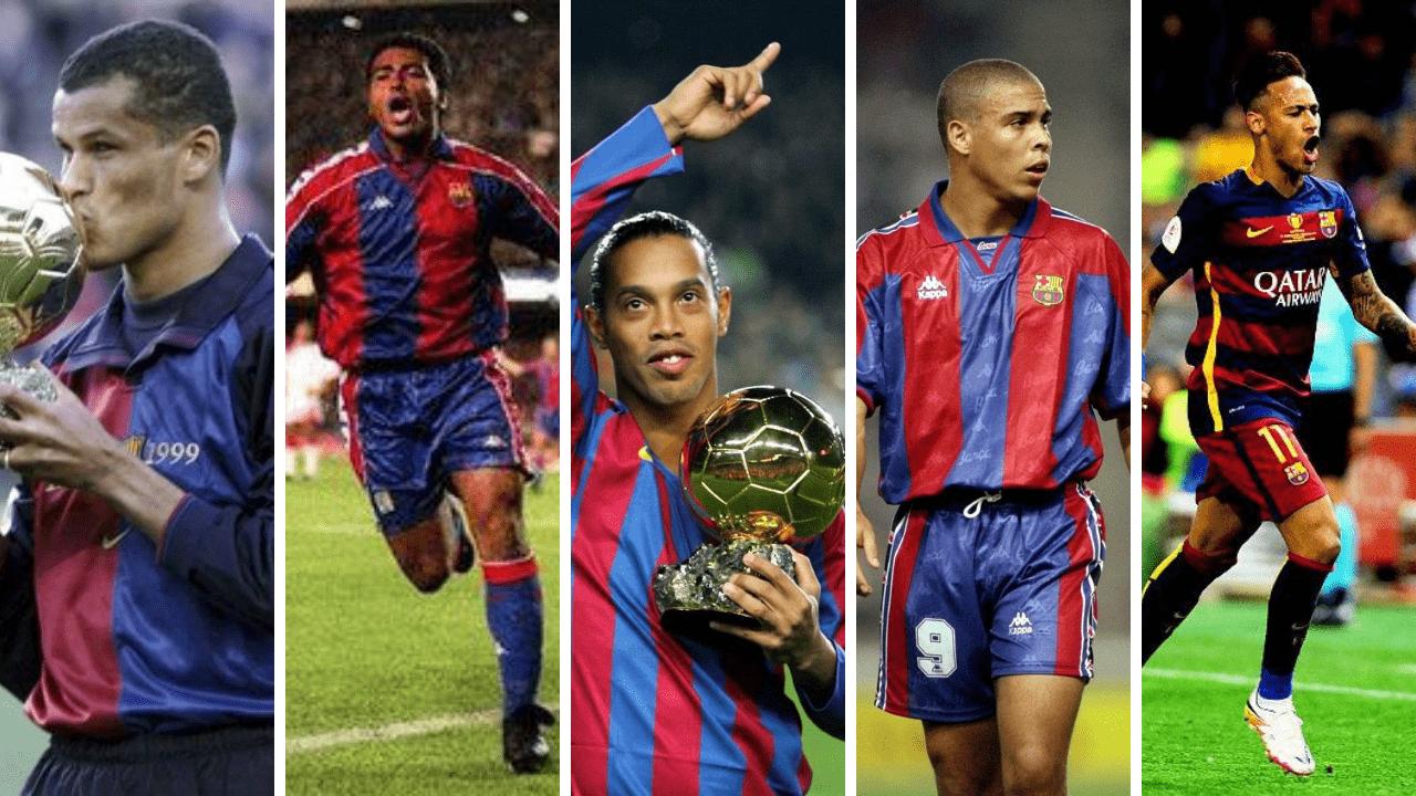 Imagem mostra alguns jogadores brasileiros que passaram no Barcelona