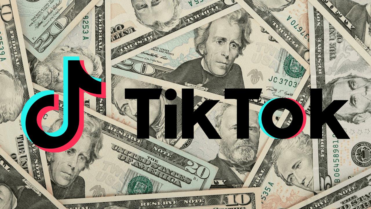 imagem mostra o logotipo do tiktok com dinheiro ao fundo