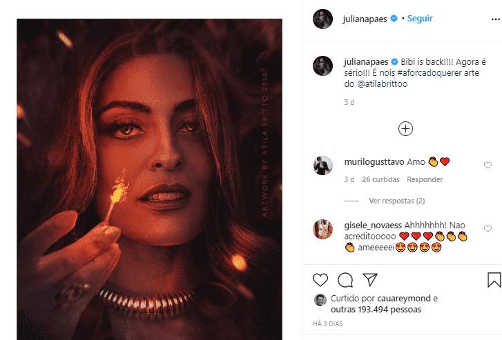 Imagem mostra instagram de Juliana paes
