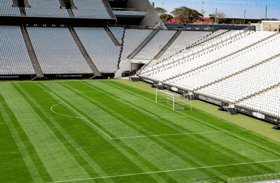 Imagem mostra arena Corinthians antes do clássico Corinthians e Palmeiras