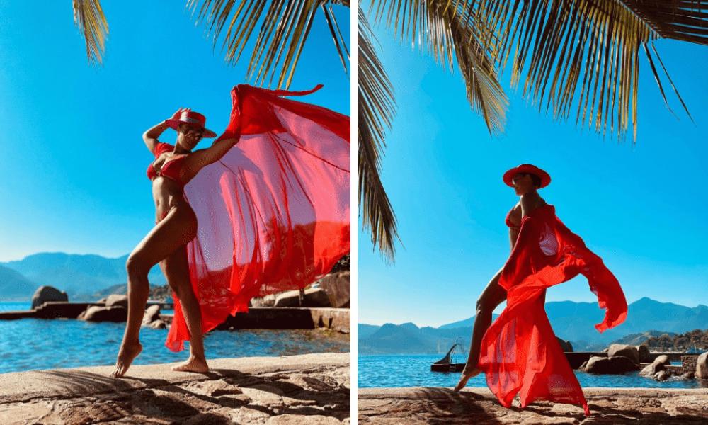 Imagem mostra Juliana Paes com saída de praia e biquíni