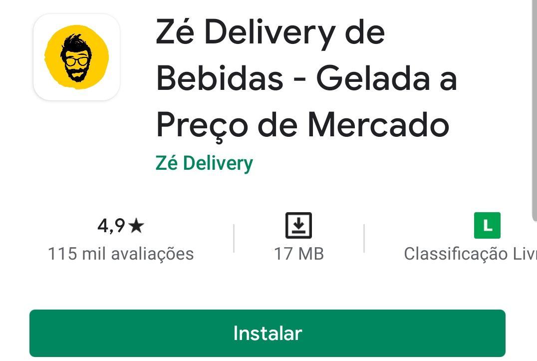 Imagem mostra a pagina do Zé Delivery na Google Play