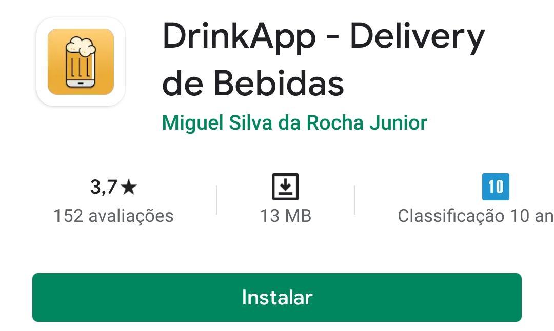 Imagem mostra a pagina do DrinkApp na play store