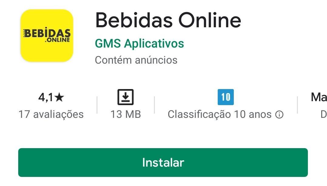 Imagem mostra o aplicativo de bebidas online