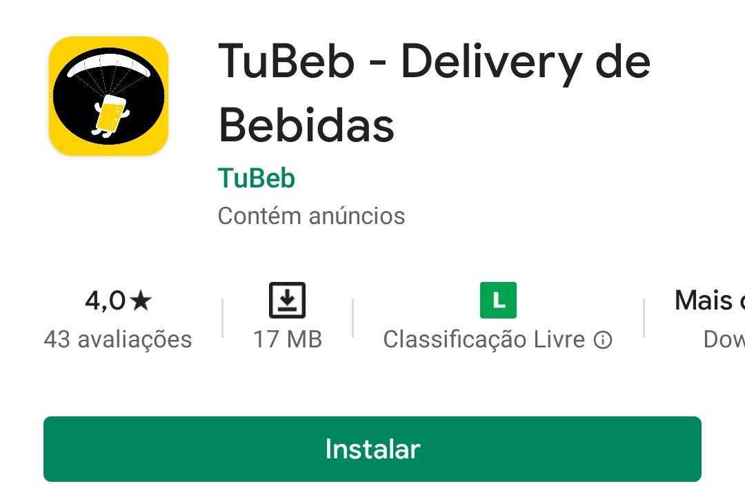 Imagem mostra o aplicativo de bebidas Tubeb