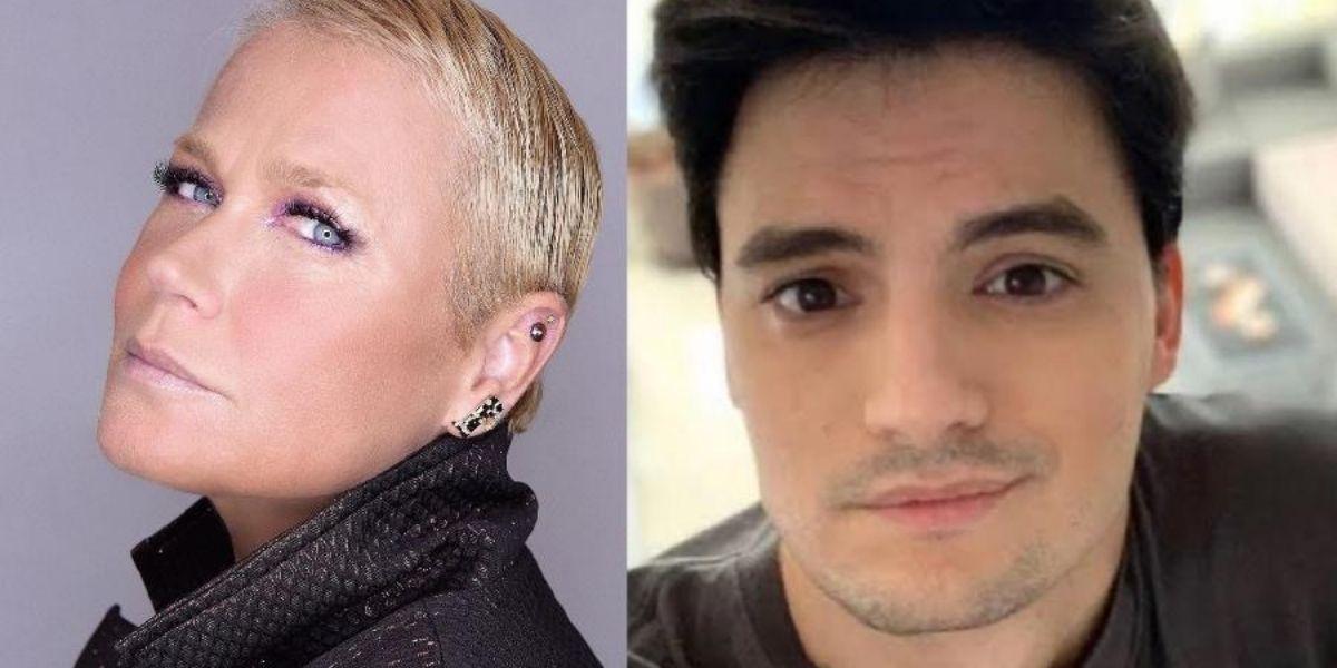 Foto dividida em dois com Xuxa do lado esquerdo e Felipe Neto do lado direito posados