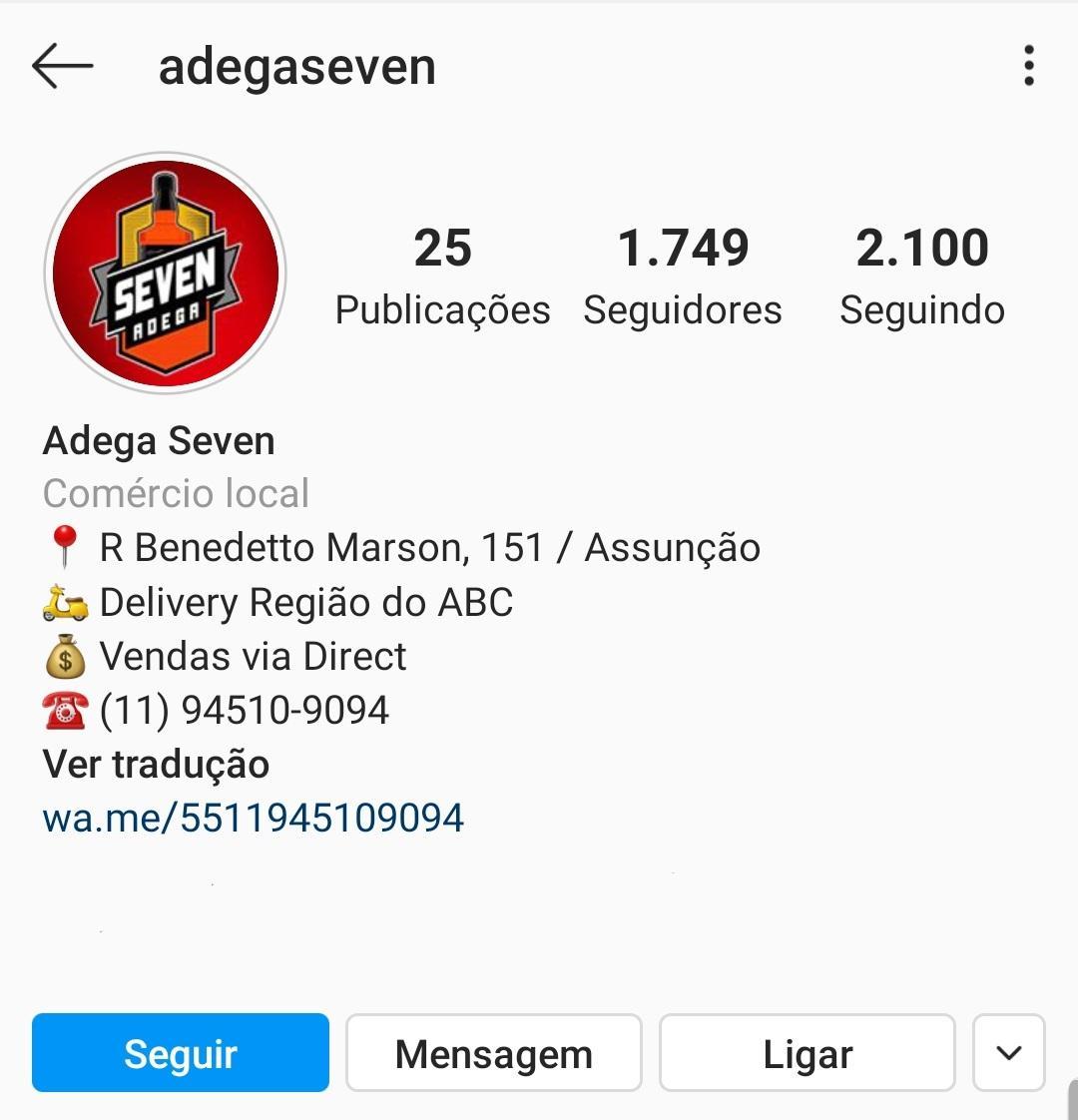 Imagem mostra o Instagram da Adega Seven