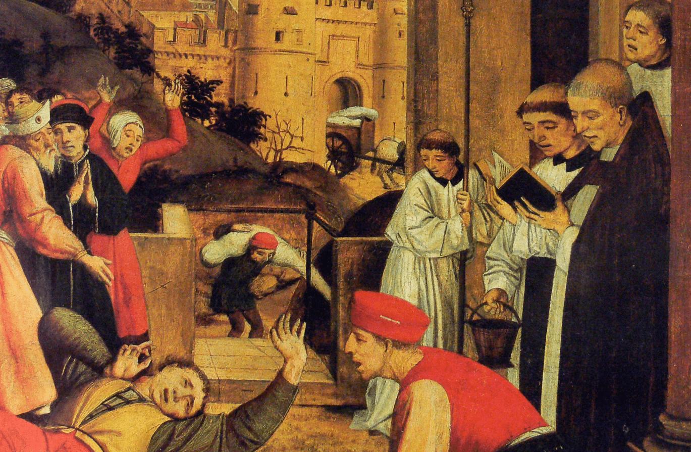 Imagem mostra uma pintura medieval, que representa a peste de justiniano. Na pintura há várias pessoas em pé, em volta de um enfermo deitado.