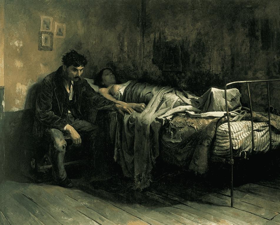 Pintura mostra um quarto com um doente acamado e uma pessoa sentada ao seu lado.
