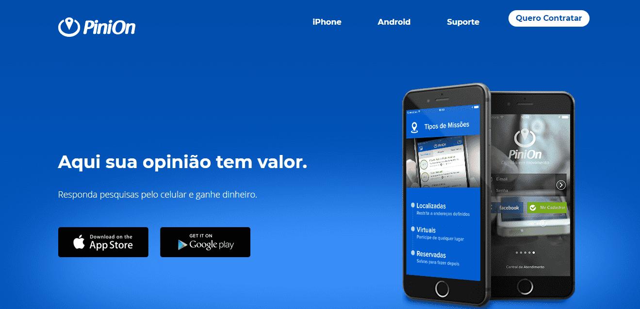 Página inicial do site de pesquisa PiniOn