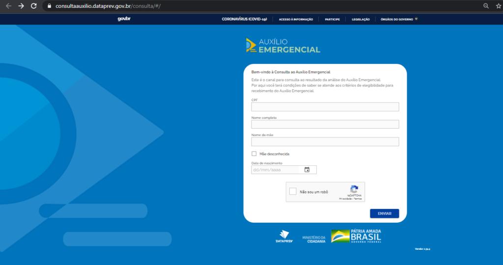 página inicial do site para consulta