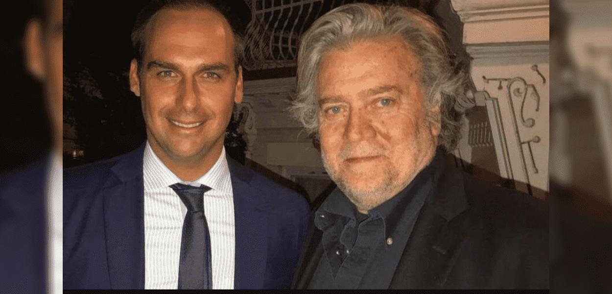 Steve Bannon em foto com Eduardo Bolsonaro