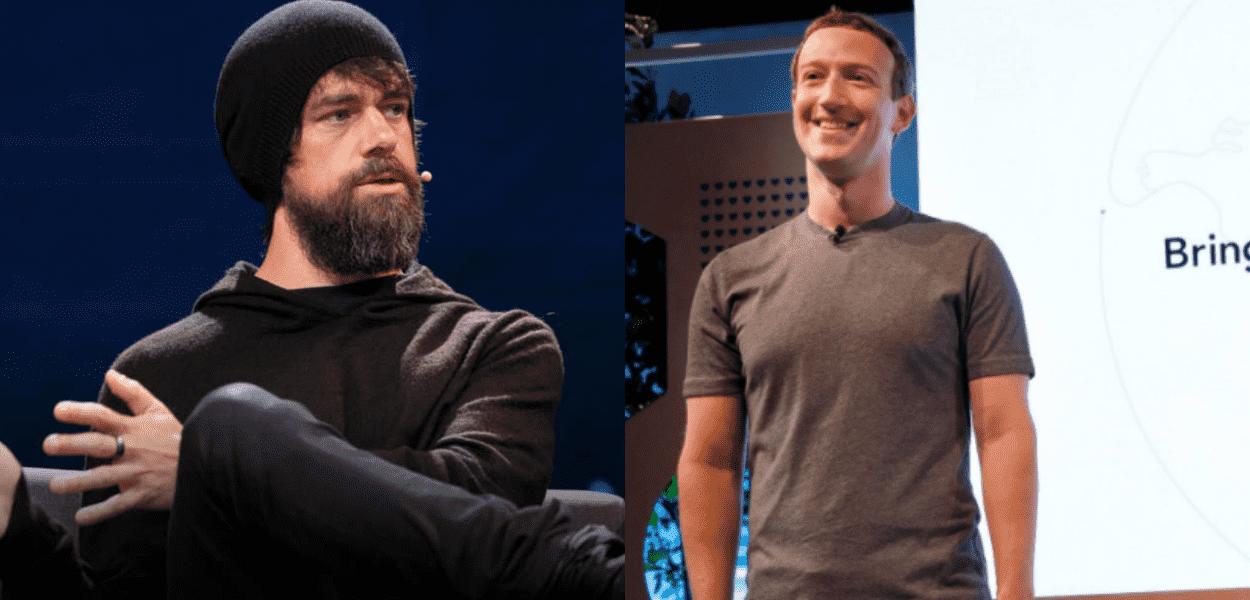 Jack Dorsey e Mark Zuckerberg, fundador do Facebook