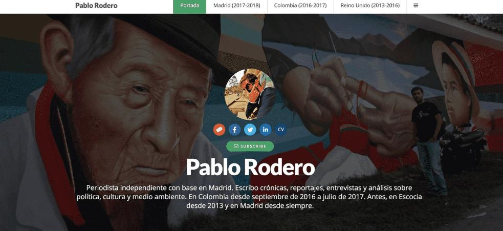 Exemplo retirado do Journo Portfólio mostra portfólio do jornalista Pablo Rodero