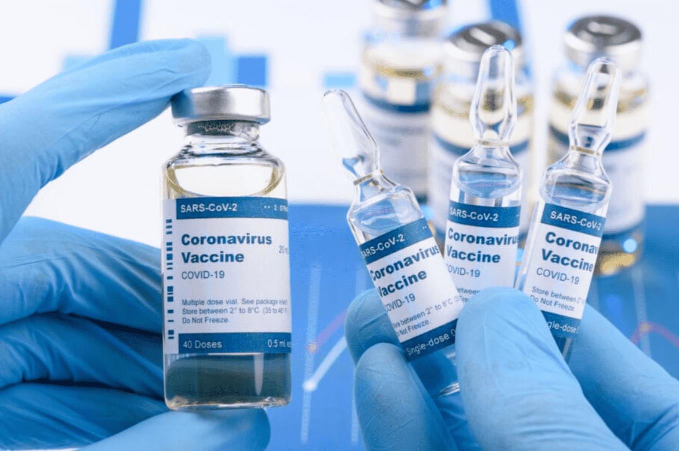 Foto mostra mãos segurando vários fracos de vacina