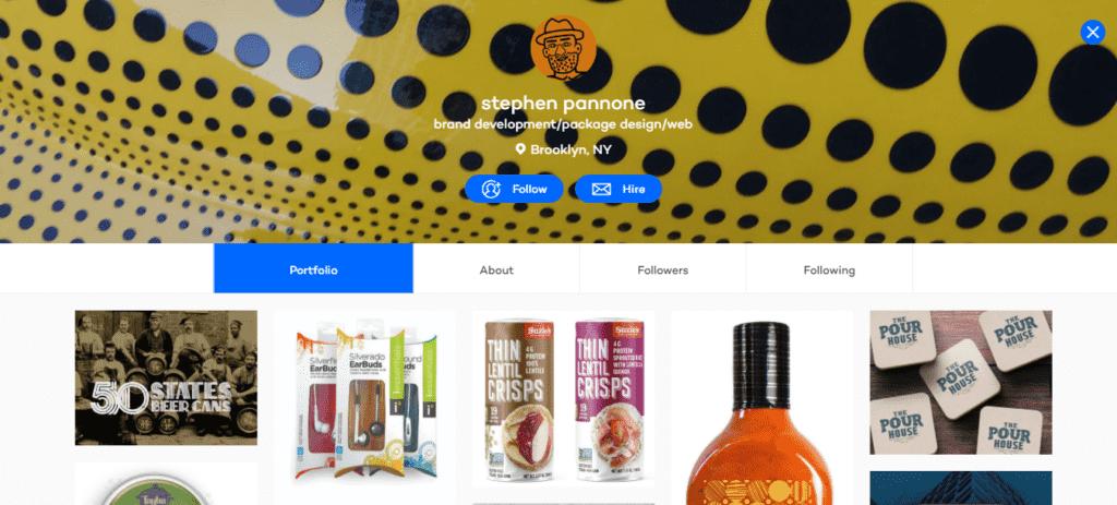 Imagem mostra imagem da página de um designer que utilizou o Coroflot para criar seu portfólio digital.