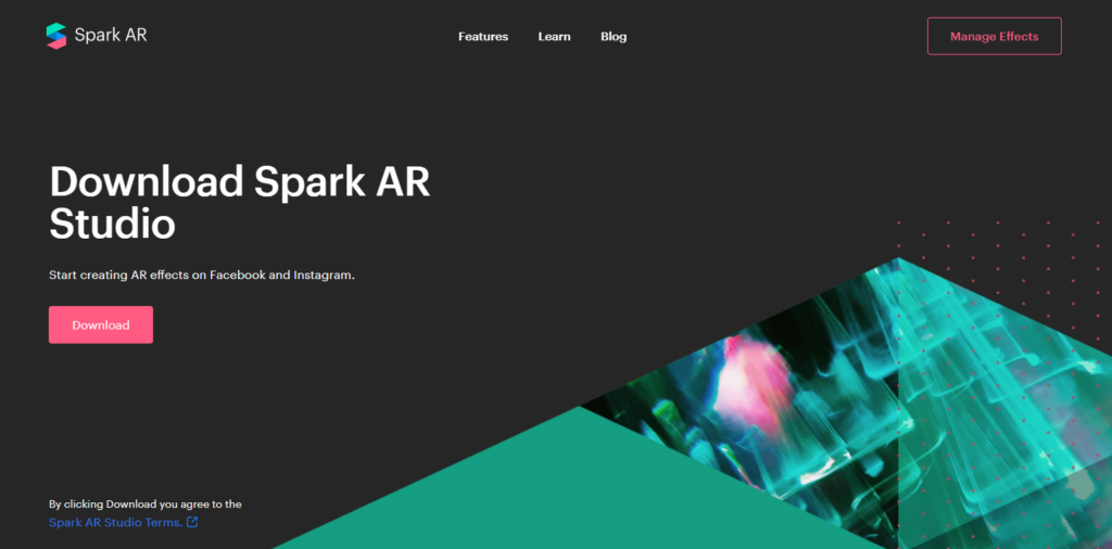 Captura de tela do site do software Spark AR Studio