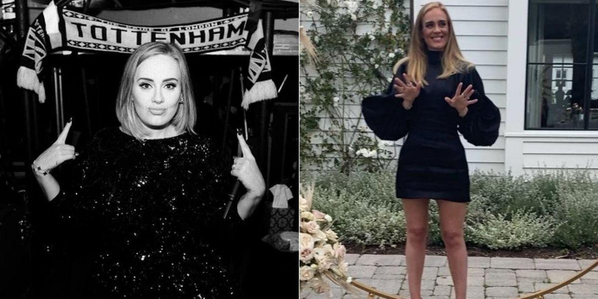 Adele posada em foto preto e branco e na outra imagem Adele aparece em pé após ter emagrecido