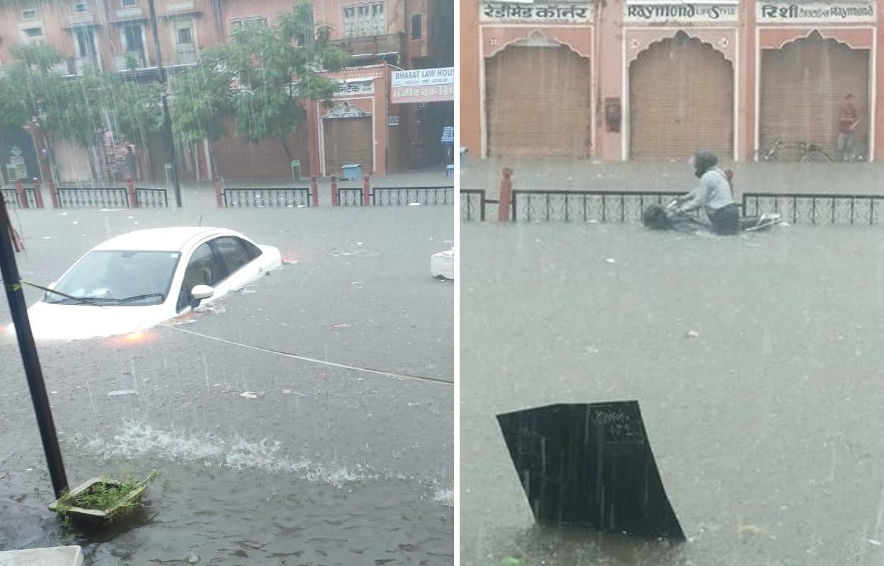 chuvas causam alagamento em jaipur