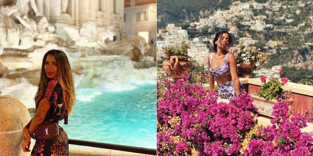 foto dividida em duas de anitta: na primeira imagem ela aparece na Fontana di Trevi, na Itália; e na segunda imagem ela está em meio a flores roxas