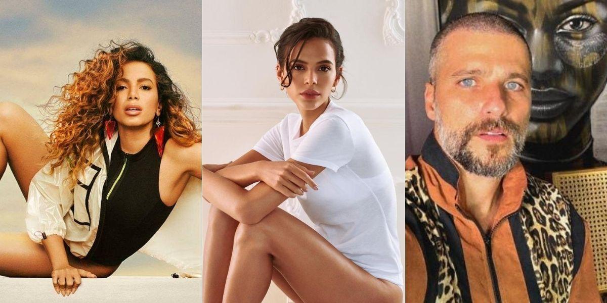 imagem dividida em três com Anitta, Bruna Marquezine e Bruno Gagliasso posados olhando para frente
