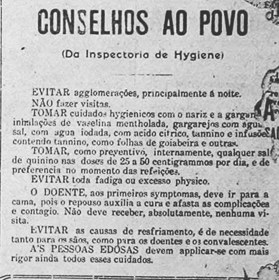 """Imagem mostra uma folha escrita """"Conselhos ao povo"""" com recomendações de proteção à população."""