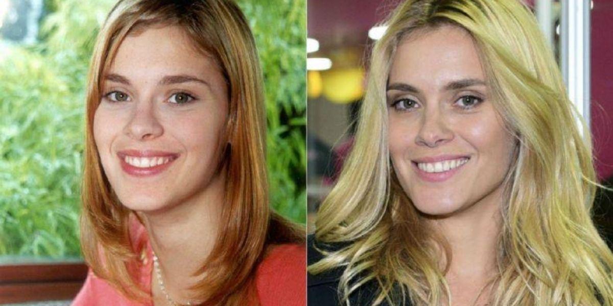 Foto dividida em daus com Carolina Dieckmann em Laços de Família, e atualmente em imagem posada sorrindo