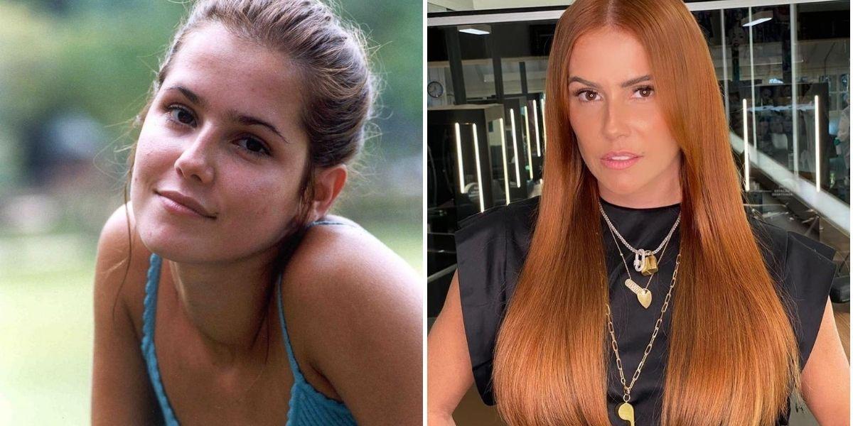 Imagem dividida em duas com Deborah Secco como Íris em Laços de Família e atualmente