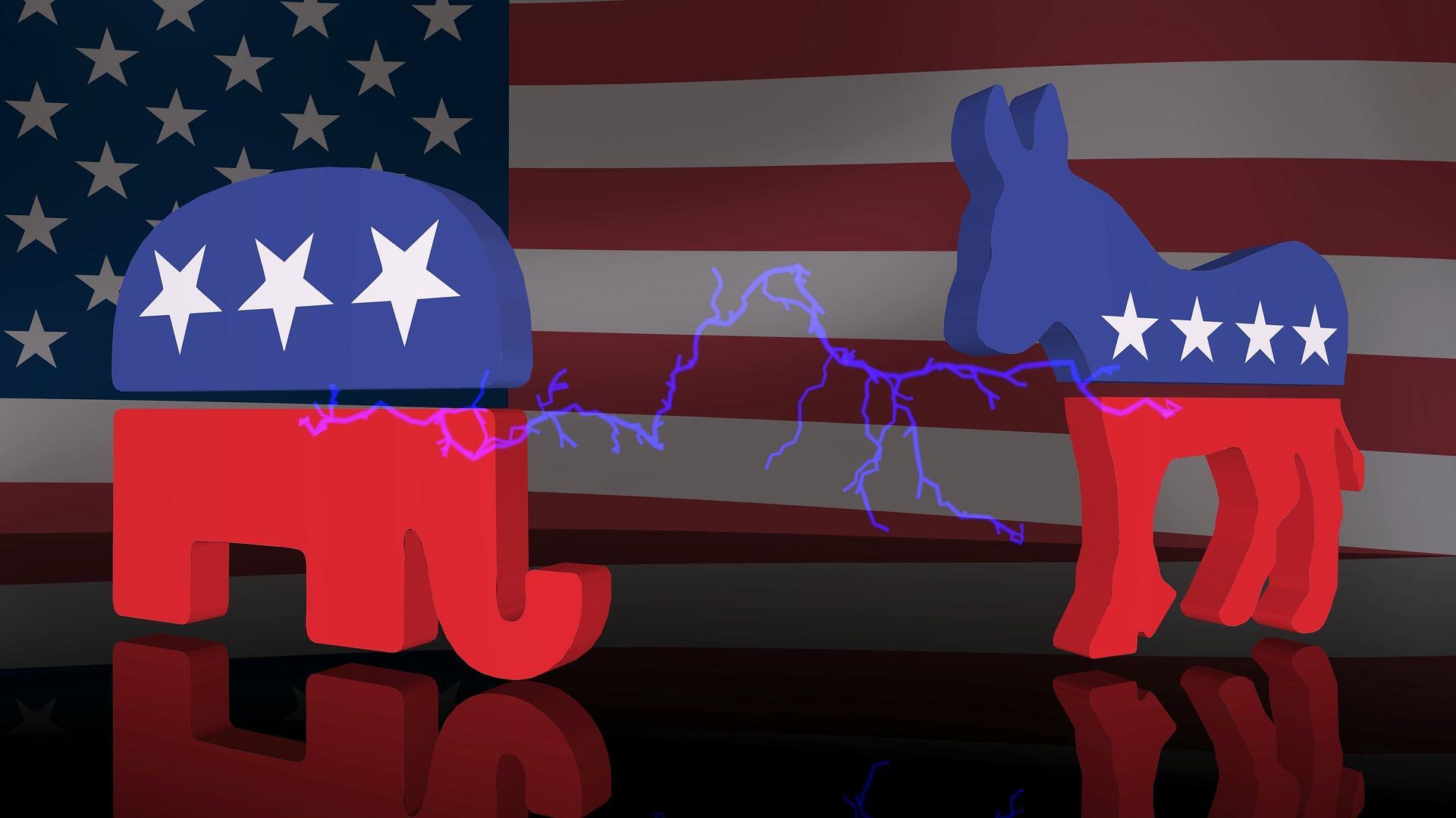 símbolos dos partidos americanos nas cores azul e vermelho, conforme bandeira. À esquerda, o elefante e à direita, o cavalo.