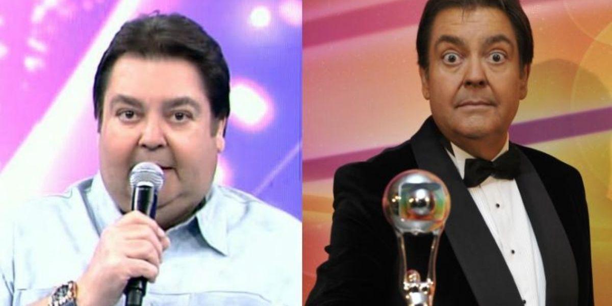 Faustão em foto dividida em duas de antes e depois de perder 40 kilos; na primeira imagem o apresentador está segurando um microfone, e na segunda o troféu do Melhores do Ano