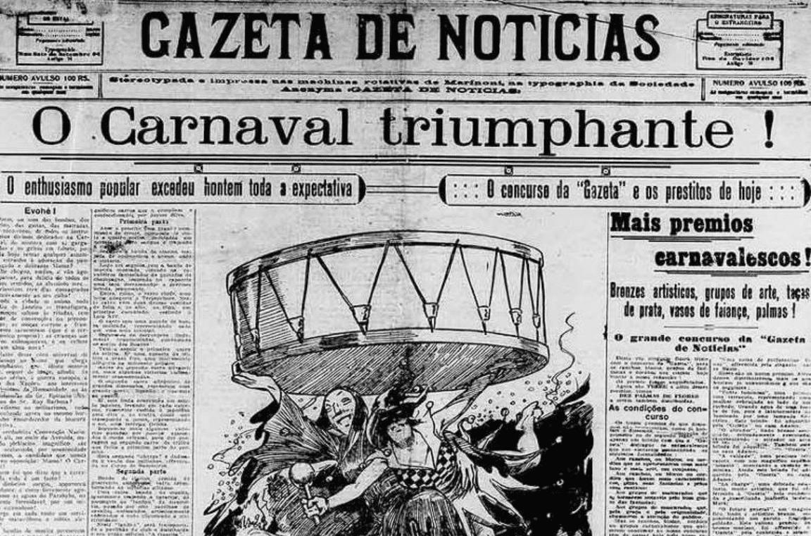 """Capa do jornal Gazeta de 1919, com a manchete dizendo """"O carnaval triunfante""""."""