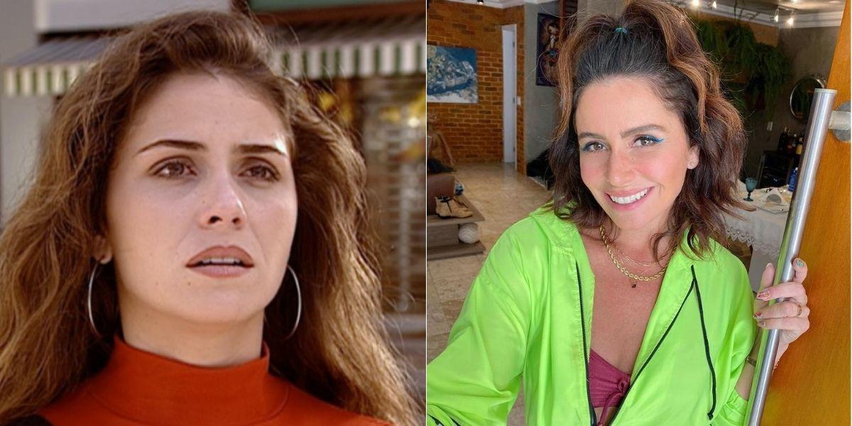 Giovanna Antonelli em foto dividida em duas, como Capitu, em Laços de Família, e atualmente em imagem posada sorrindo