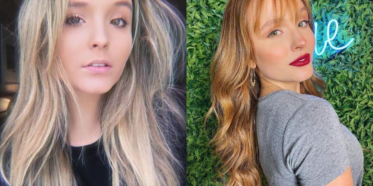 visual na quarentena - Larissa Manoela em duas imagem: à esquerda ela aparece loira, e à direita com os cabelos ruivos