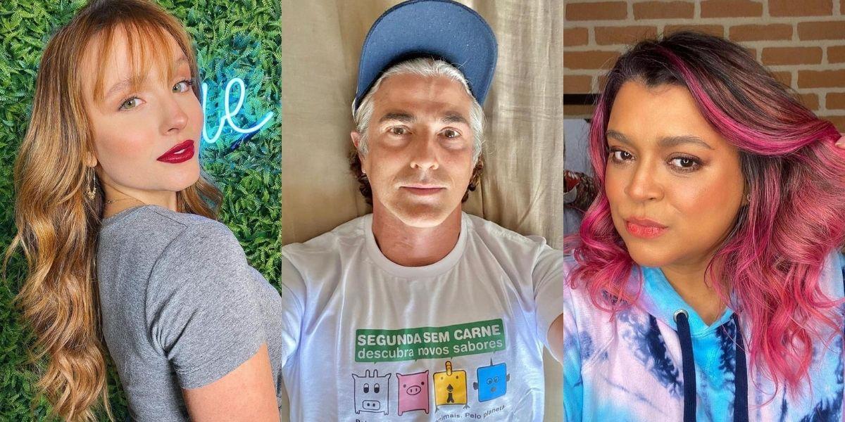 Imagem dividida em três fotos: Larissa Manoela com cabelos ruivos; Reynaldo Gianechhini com os fios brancos; e Preta Gil com os cabelos rosa
