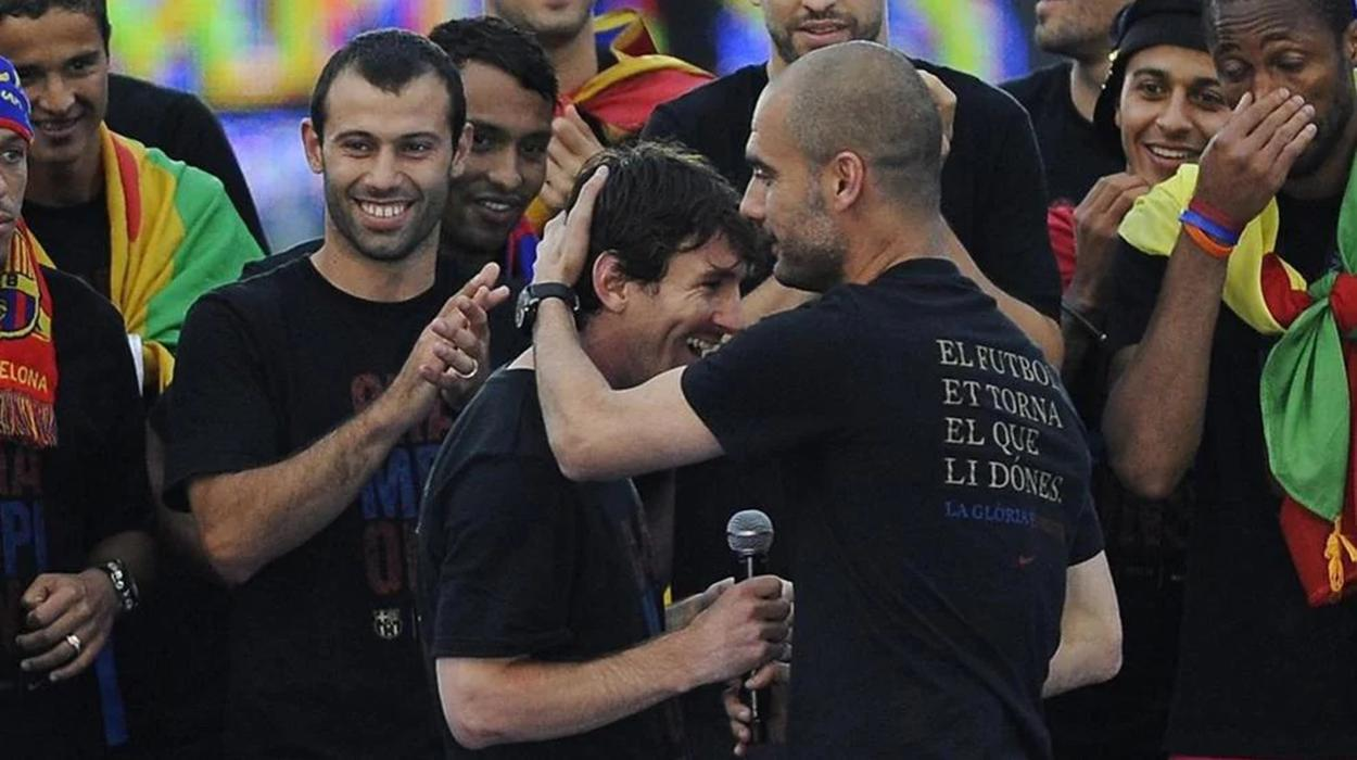 Messi e Guardiola no Barcelona