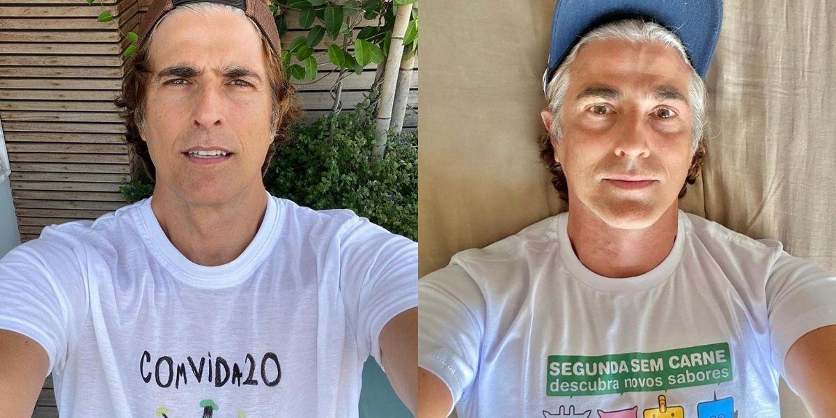 visual na quarentena - Reynaldo Gianecchini em duas fotos posado olhando para frente; à esquerda ator mostra que fios brancos estão aparecendo: à direita ele mostra os cabelos totalmente grisalhos