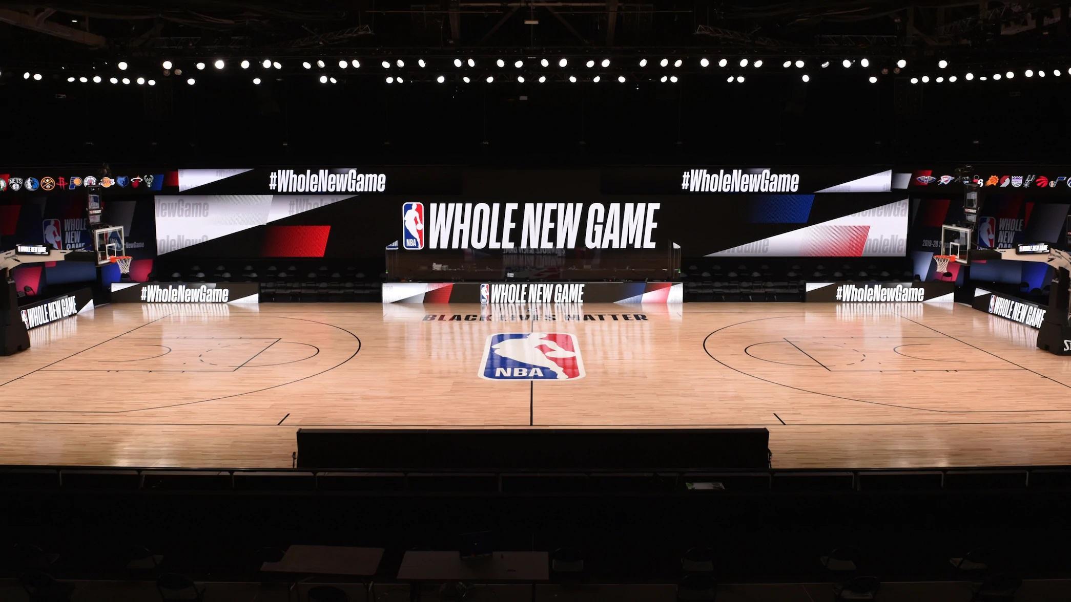 Quadra da bolha montada na Disney para a retomada da NBA 2020