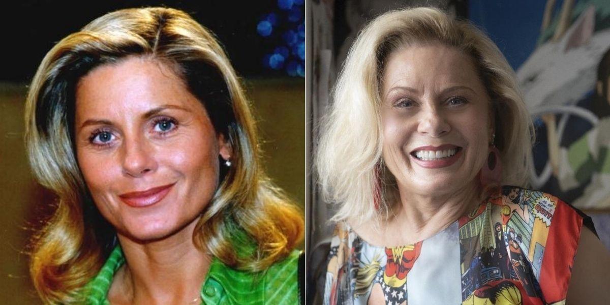 """Foto dividida em duas com Vera Fischer como Helena em """"Laços de Família"""" e atualmente posada sorrindo"""