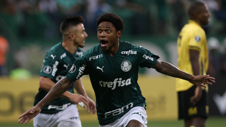 """""""Pra cego ler"""": Luis Adriano do Palmeiras comemorando um gol"""