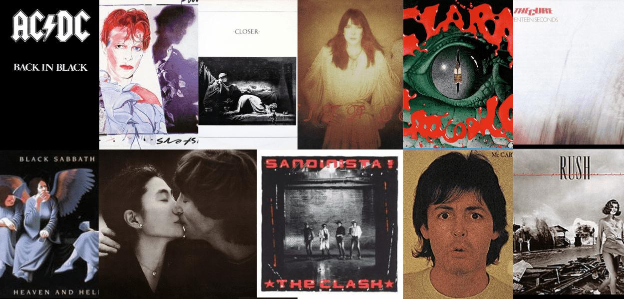 Imagem com a capa de 10 discos que completam 40 anos em 2020