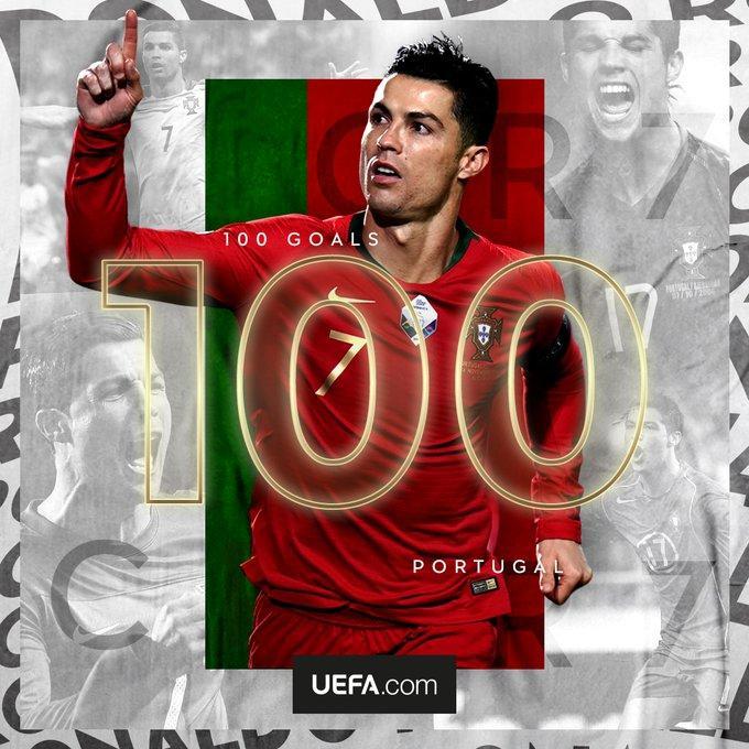 UEFA celebra último dos recordes de Cristiano Ronaldo: 100 gols por Portugal