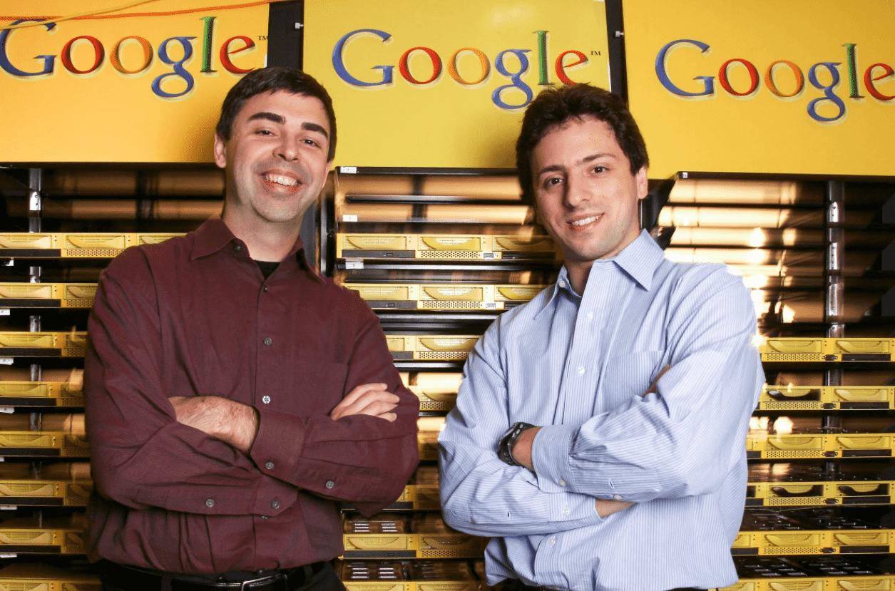 Foto mostra os fundadores da empresa bilionária Google em empresas que começaram do zero