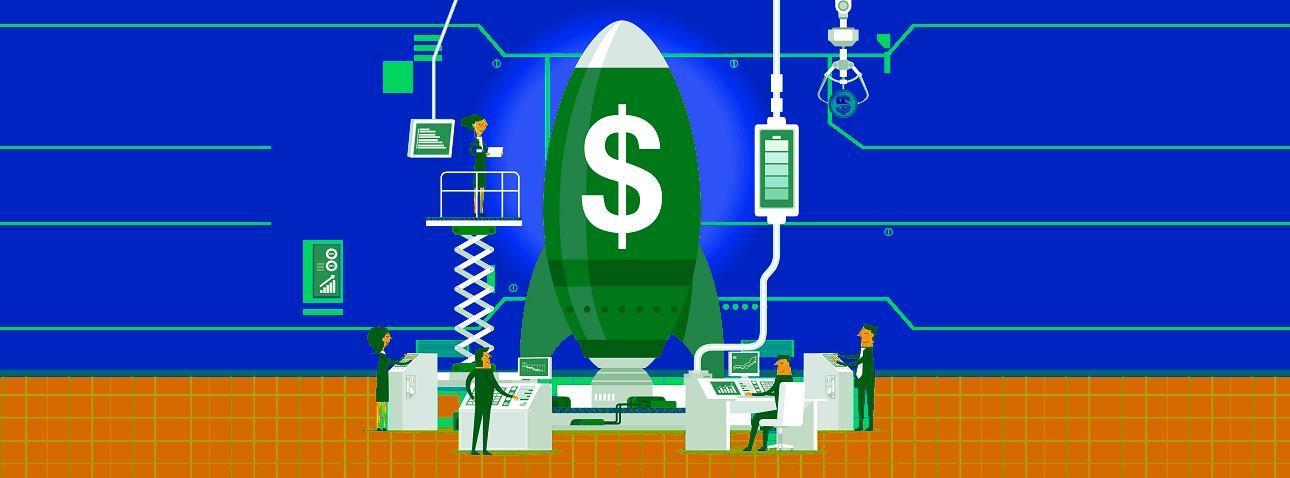 foguete verde com símbulo de dinheiro, cercado de cientistas em computadores