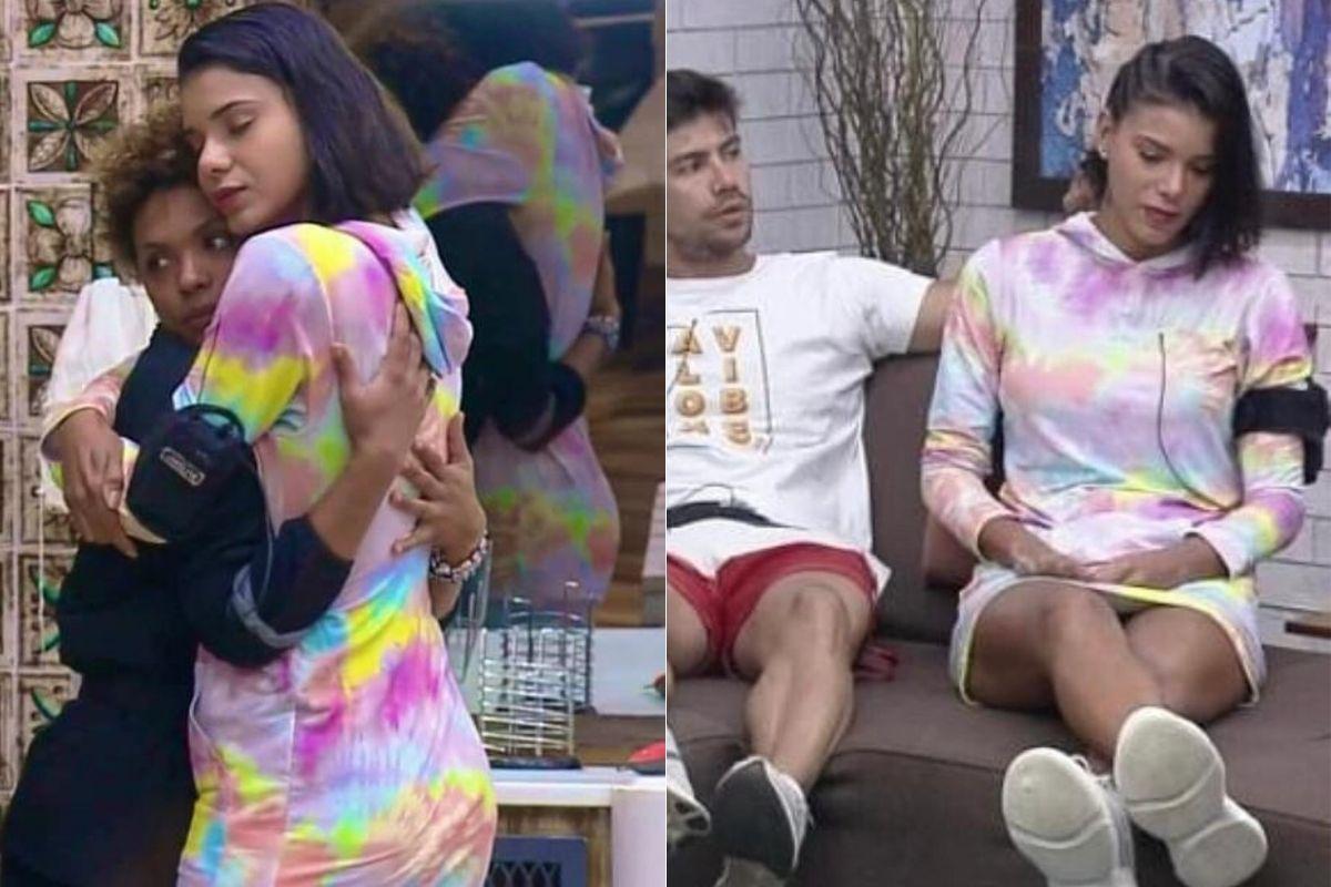 Duas imagens com Jakelyne, a primeira ela abraçando Lidi Lisboa, e a segunda ao lado de Marino no sofá