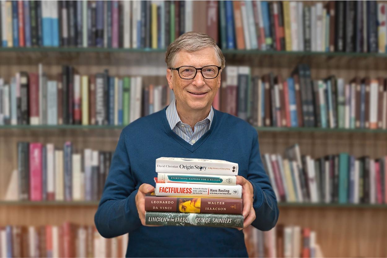Bill Gates e alguns dos seus livros preferidos