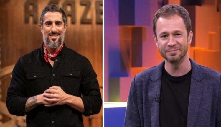Na imagem, Marcos Mion apresentador de A Fazenda 12 e Tiago Leifert, apresentador do BBB e The Voice