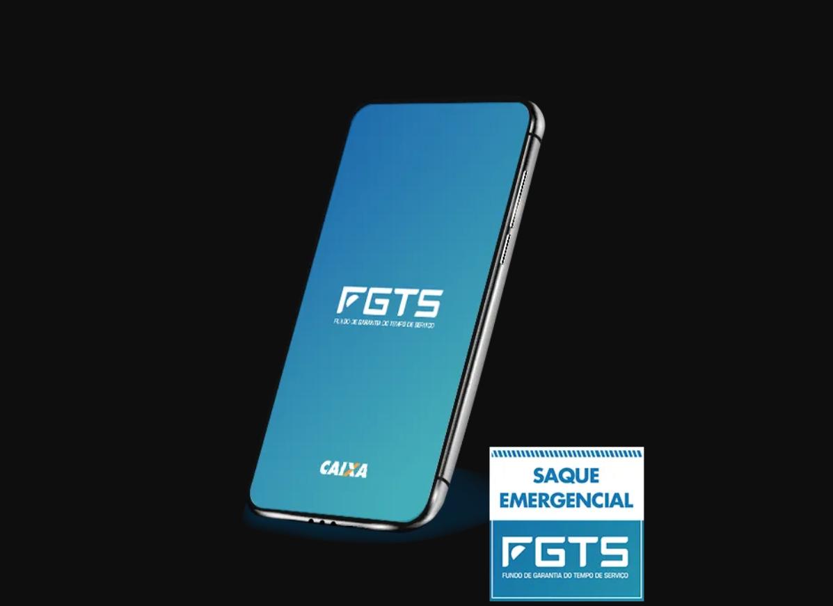 Foto mostra celular com o logo do FGTS