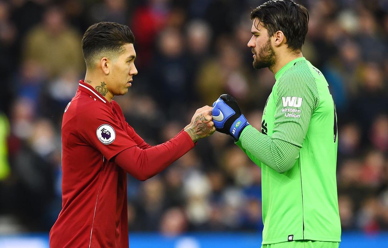 Alisson e Firmino no Liverpool
